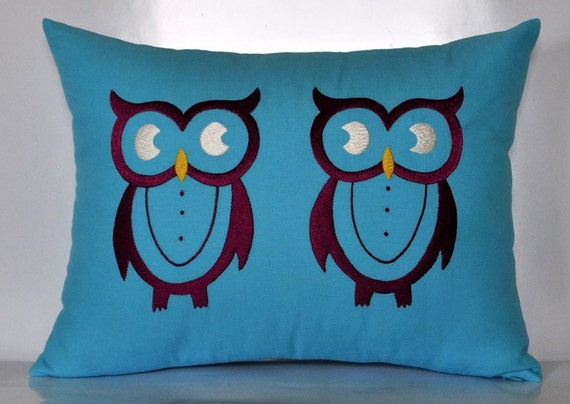 "Purple Twin Owls -  Throw/Lumbar Pillow Cover - 12"" x 16"" Linen Decorative Pillow Cover - Light Blue Linen with Deep Purple Owls Embroidery"