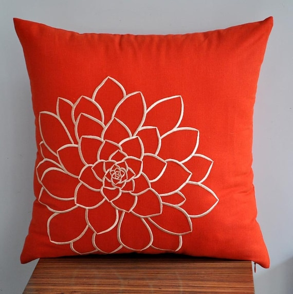 Orange Pillow Cover, Decorative Pillow Cover, Throw Pillow, Toss Pillow, Orange Linen, Beige Succulent, Embroidered, Bed Pillow
