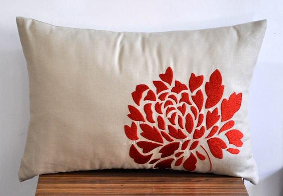 "Orange Dahlia -  Lumbar  Pillow Cover - 12"" x 18""  Decorative Pillow Cover - Tan Linen with  Orange Floral Embroidery"