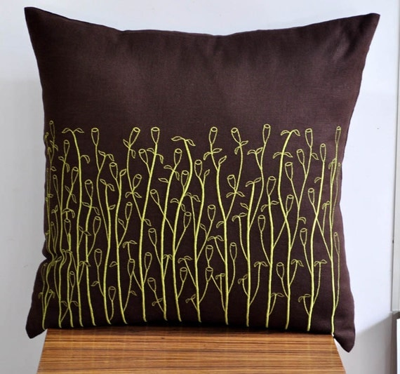 Dark Brown Throw Pillow : Items similar to Throw Pillow Cover, Decorative Pillow Cover, Dark Brown Linen Lime Green Grass ...