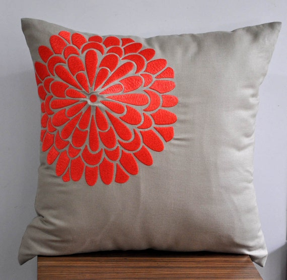 Coral Orange Flock Throw Pillow Cover 18 x 18