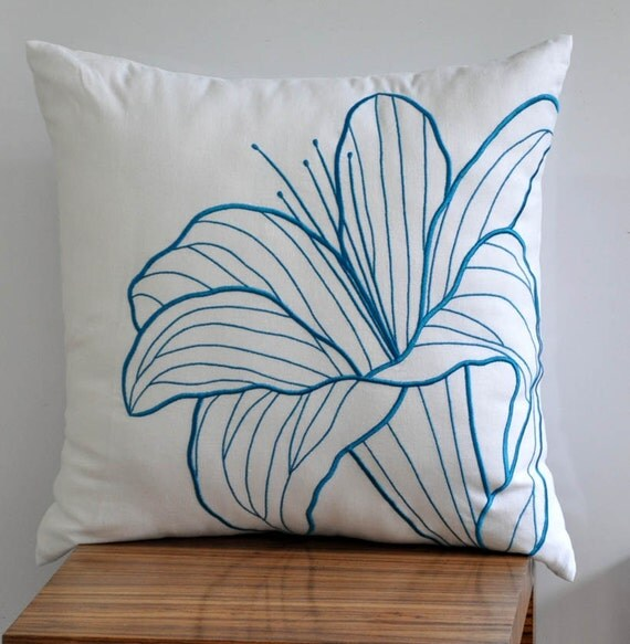 Blue Flower Throw Pillow Cover Decorative pillow White by KainKain