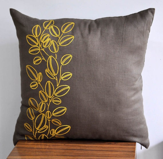 Throw Pillows For Taupe Couch : Items similar to Yellow Pillow Cover, Throw pillow cover , Decorative pillow, Medium Taupe Linen ...