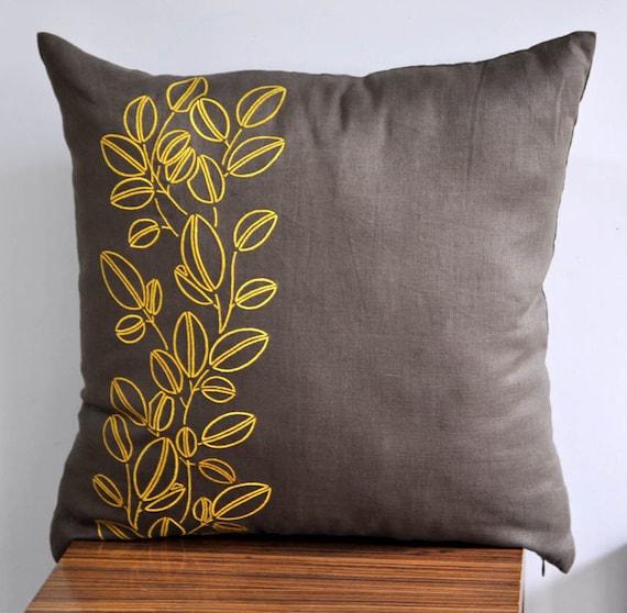 Items similar to Yellow Pillow Cover, Throw pillow cover , Decorative pillow, Medium Taupe Linen ...
