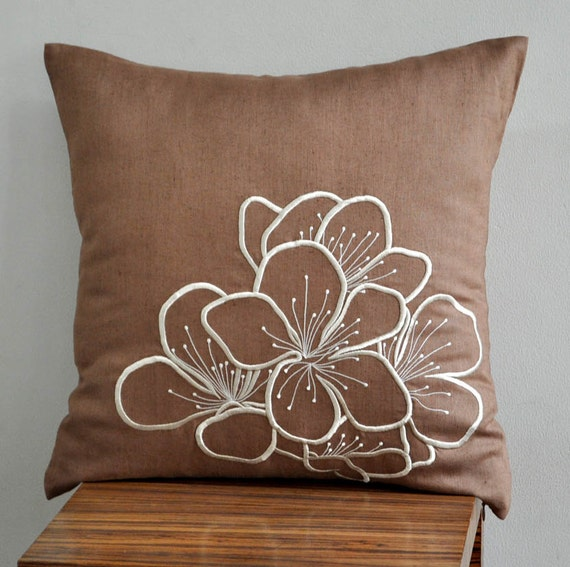 "Hibiscus Throw Pillow Cover - 18"" x 18"" Embroidered Decorative Pillow Cover - Medium Brown Linen Fabric with Beige Flower Embroidery"