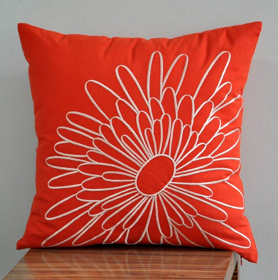 Items similar to Orange Pillow Cover, Decorative Pillow Cover, Throw Pillow, Red Orange Linen ...