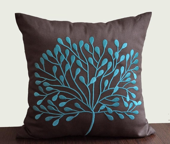 Throw Pillow Covers Teal : Teal Decorative Pillow Cover Throw Pillow Cover Home by KainKain