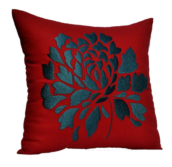 Red Pillow Cover, Decorative Throw Pillow Cover , Red Linen, Dark Blue Gray Floral Embroidery, Accent Pillow, Pillow Case
