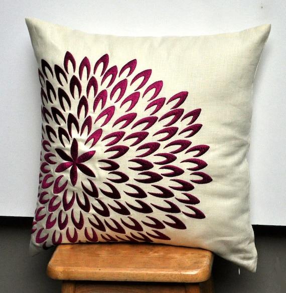 Purple Petal Flower Pillow Cover, Decorative Pillow Cover 18 x 18, Light yellow Linen Deep Purple Flower Embroidery, Pillow Accent