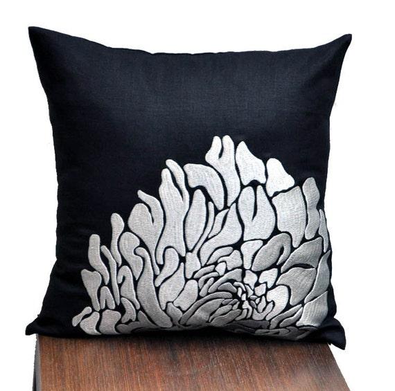 Silver Black Throw Pillow Cover Black Linen Silver by KainKain