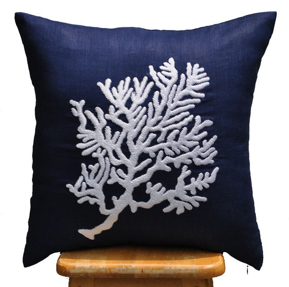 Coral Pillow Cover Decorative Pillow Cover Navy Blue by KainKain
