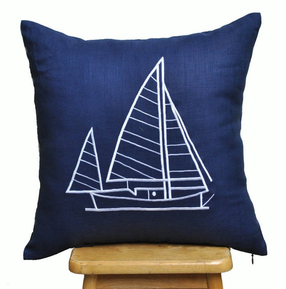 Decorative Pillows For Yachts : Items similar to Sail Boat Pillow Cover, Throw Pillow Cover, Navy Blue Linen Pillow, Sailing ...