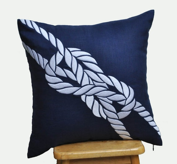 Pillow Cover Decorative Pillow Cover Navy Blue Linen By KainKain