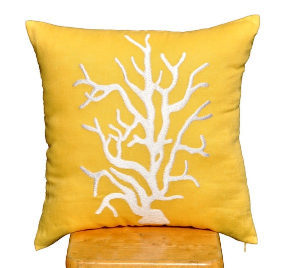 """White Reef Decorative Pillow Cover,Throw Pillow Cover 18"""" x 18"""", Yellow Linen Pillow with White Coral, Pillow Case Yellow, Couch Pillow"""