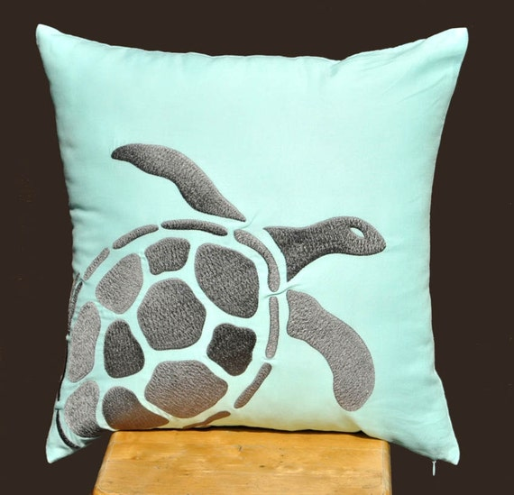 Turtle  Pillow Cover, Decorative Pillow Cover, 18 x 18 Pillow Cover,Gray Turtle Embroidery,  Light Blue Linen Pillow, Cushion Cover