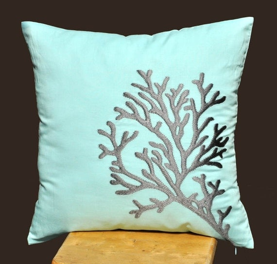 Blue Gray Coral Pillow Cover, Decorative Throw Pillow Cover, Pillow Accent , Cushion Cover, Embroidered, Pillow cover 18 x 18