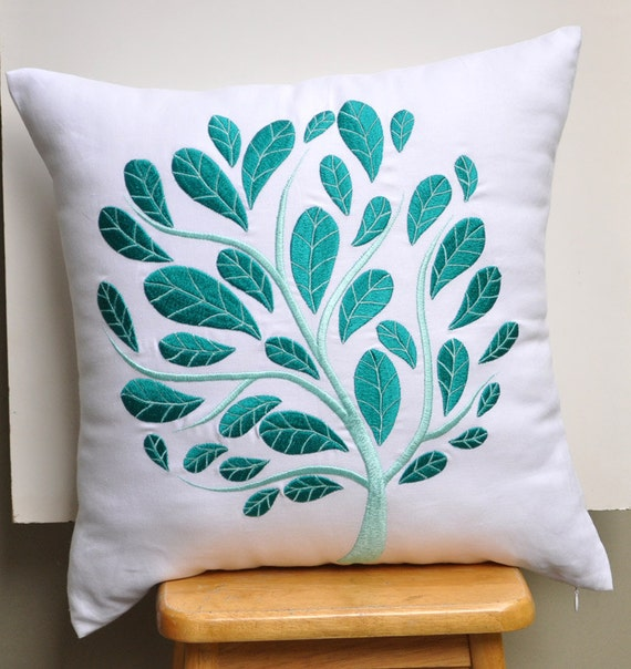 White Teal Floral Throw Pillow Cover Linen By