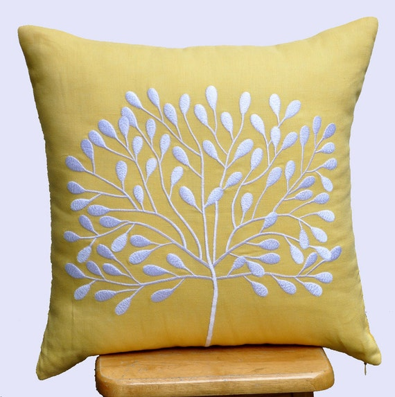 Yellow Embroidered Throw Pillows : Yellow Decorative Pillow Cover Throw Pillow Cover 18 x 18
