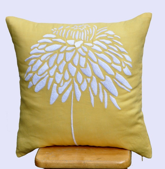 White Peony Flower Pillow Cover, Embroidered Throw Pillow Cover 18 x 18, Yellow Cushion Cover, Accent Pillow, Pillow for Couch, Linen Pillow