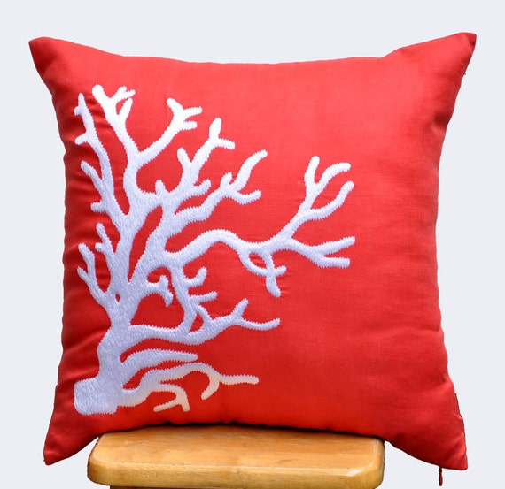 Coral Decorative Pillow Cover,Throw pillow cover, Cushion, Orange Linen, White Crab, Nautical ...