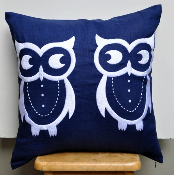 Owl Pillow Case Navy Blue Pillow Owl Embroidery by KainKain