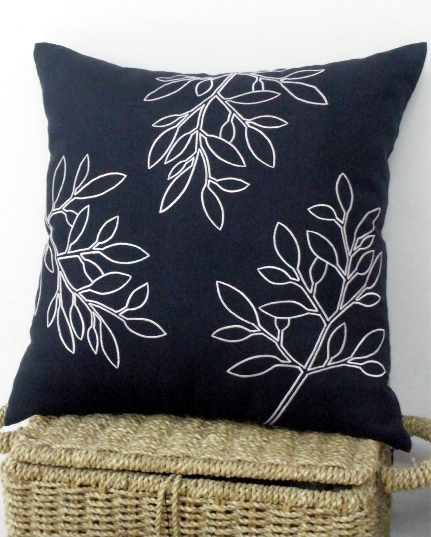 Navy Blue Linen With Tropical Leaves Embroidery Pillow Cover