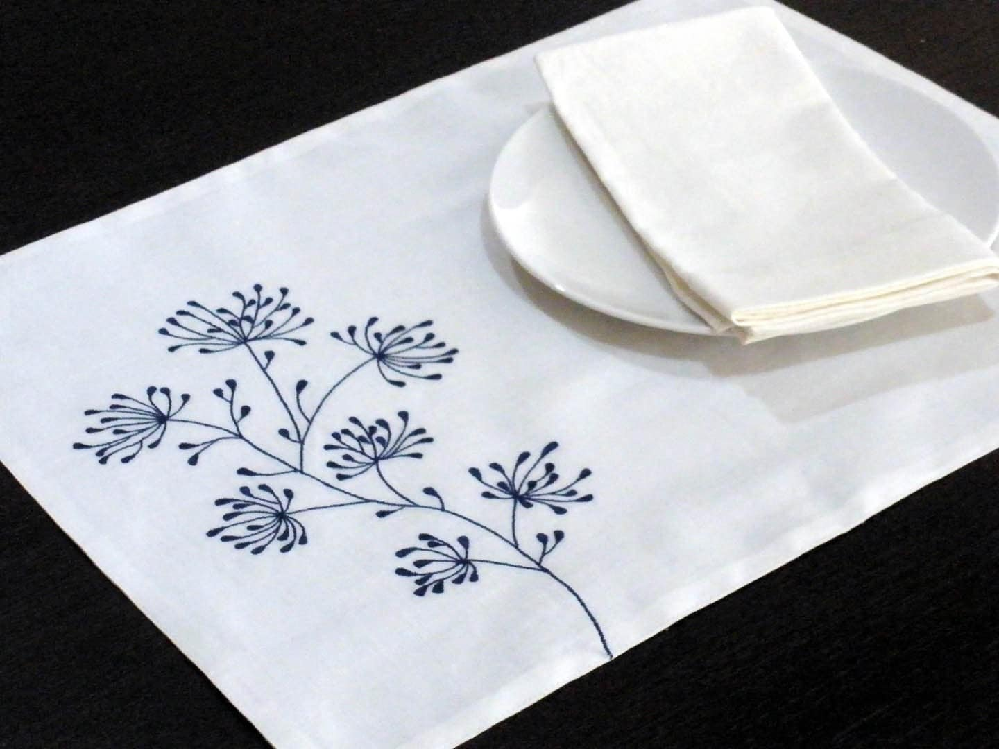 White Linen Placemat White Linen Blue Floral Embroidery