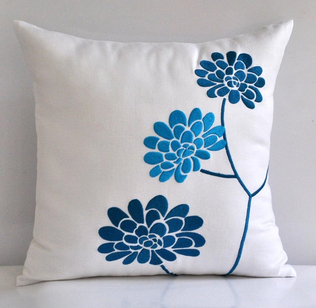 Turquoise Throw Pillows Covers : Turquoise White Pillow Cover Decorative Pillow CoverThrow