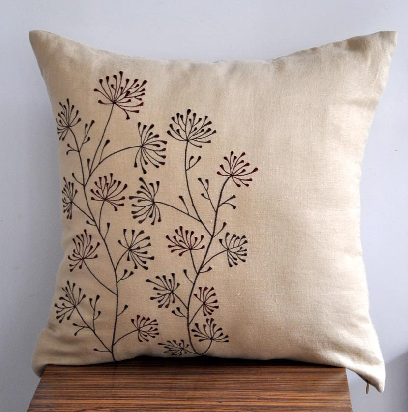 Embroidered Throw Pillow Covers : Ixora Throw Pillow Cover 18 x 18 Embroidered