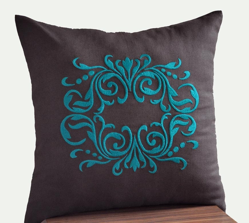 Throw Pillow Covers Teal : Damask Pillow Cover Dark Brown Decorative Pillow by KainKain