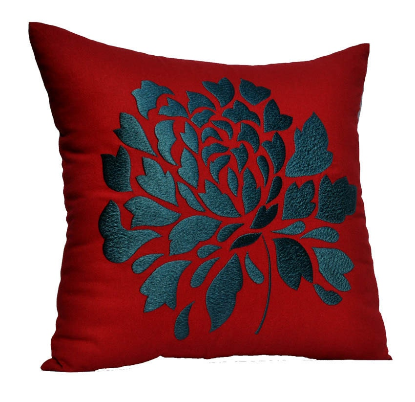 Throw Pillow Red : Red Pillow Cover Decorative Throw Pillow Cover Red Linen