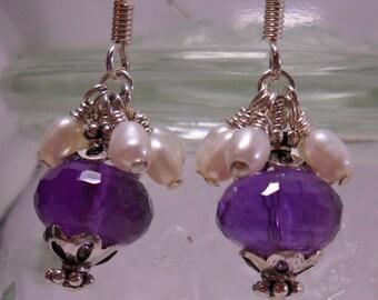 Amethyst  Freshwater Pearl Sterling Silver Earrings