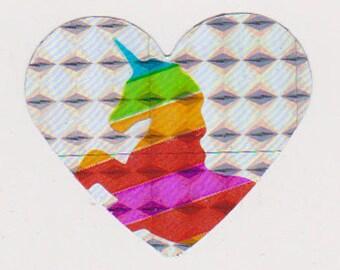 Cool Unique Vintage Retro 80's Prism Rainbow Unicorn Heart Sticker Mod - Handmade
