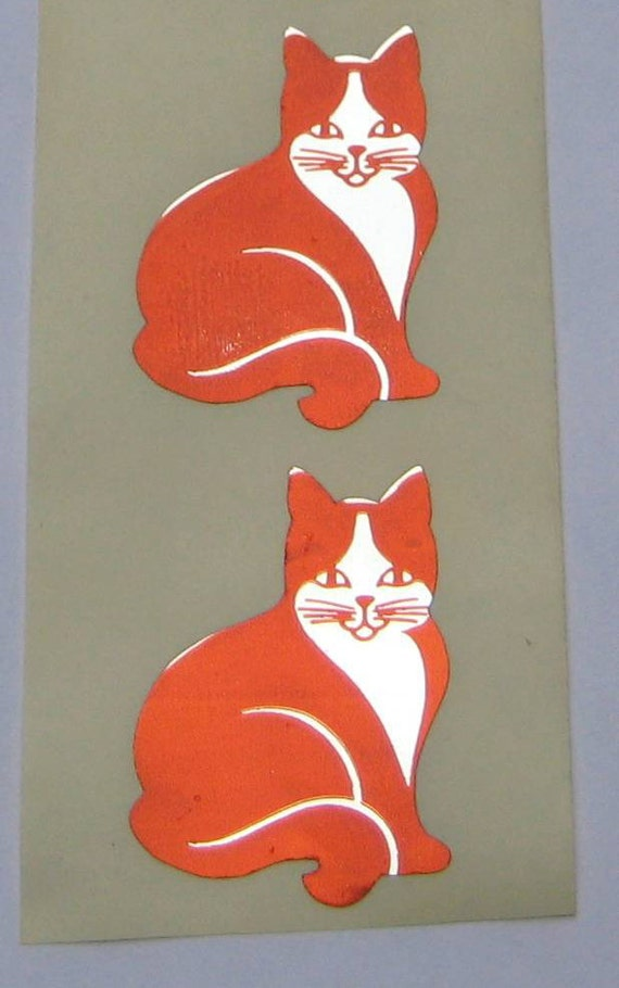 2 Retro Vintage 80s Hambly Studios Orange Foil Cat Stickers