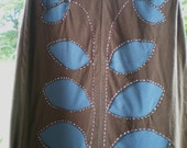 leafy reverse applique skirt in brown and blue