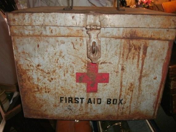 Vintage first aid metal box very rustic