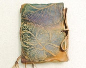 Tree Leaves Leather Journal, pocket size.