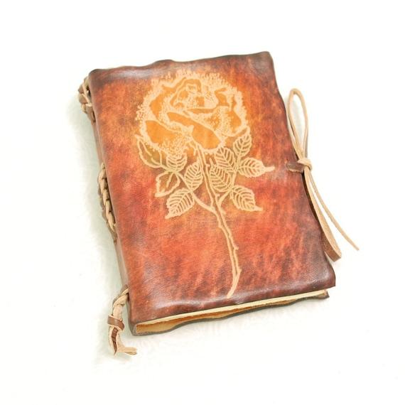Rose pocket size, leather journal.