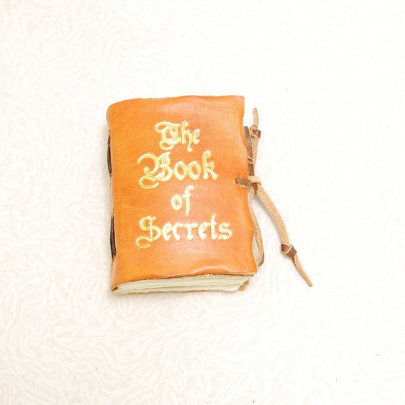 The  Book of Secrets. Golden Mini leather journal.