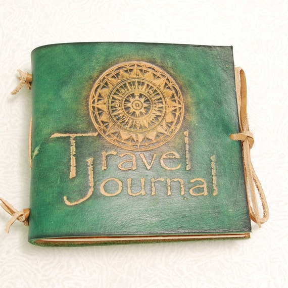 Green Travel Journal. Small leather journal.
