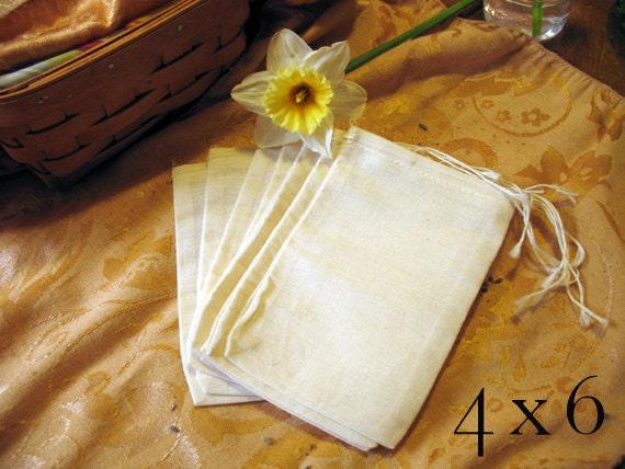 Muslin Drawstring Bag, 100% Cotton 4x6 50 pieces