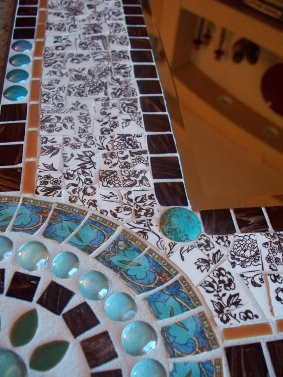 Brown Toile Broken Dish Mosaic Wall Mirror