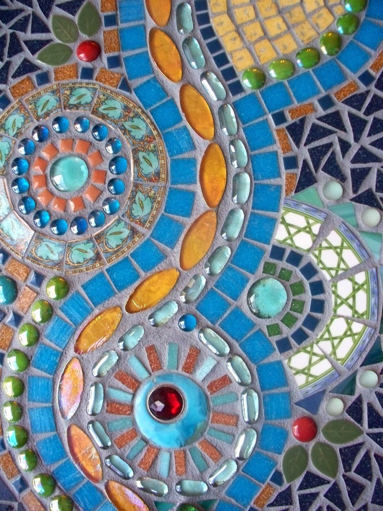 Wall Mosaic Designs : Turquoise River Mosaic Wall Hanging 30% OFF by memoriesinmosaics