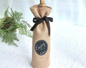 Burlap Wine Bottle Bag with Re-Useable Chalkboard Labels