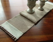 Jute Burlap Skinny Table Runner with tonal accent and pleated trim - 9.5 X 60-inches