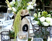 Sets of 12 - 23 Burlap Wine Bottle Bags with Chalk Cloth Message Labels - Spots to Jot over, and over again