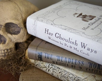 Set of 3 Creepy, Macabre Book Covers for Halloween Decorating - Dust Jackets