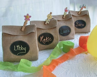Sets of 4, 5, 6 or 7 Burlap Party Gift Bags - with Re-Useable Chalkboard Labels for Party Favors, Decorations