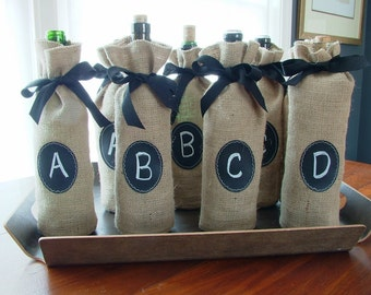 Sets of 8, 9 10 and 11 Burlap Wine Bottle Bags with Re-Useable Chalkboard Label, FOOD & WINE Magazine Favorite