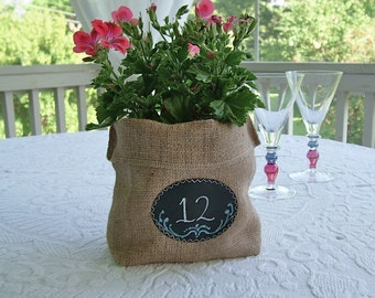 Set of 24 or more Burlap Bags with Re-Useable Chalkboard Labels for Gift Bags, Table Numbers, Centerpieces, and More